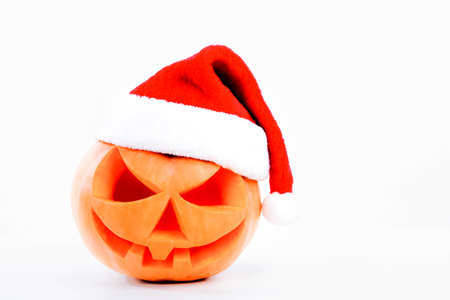 daemon: Spooky halloween pumpkin Lantern shiny inside on white background