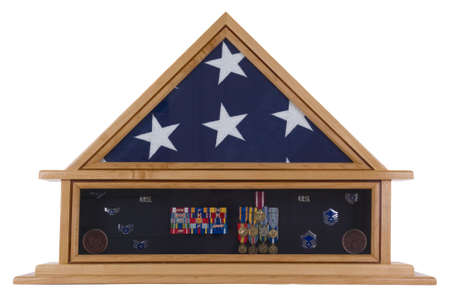 commendation: Shadow Box of an American military hero Stock Photo