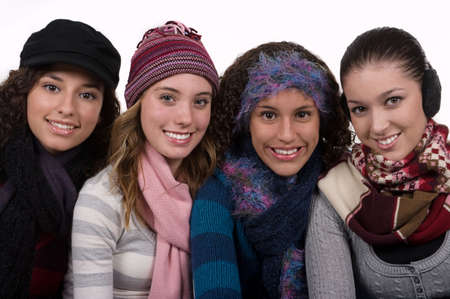 very cold: Teenage friends on a very cold winter day
