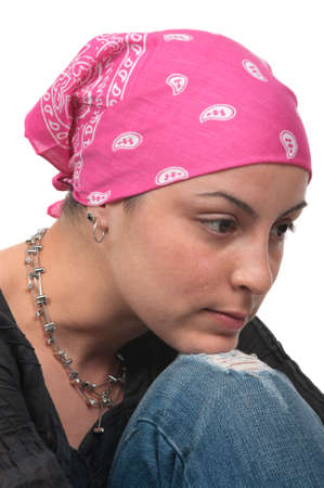 cancer de mama: Sobreviviente de c�ncer de mama real 2 meses despu�s de la quimioterapia Foto de archivo