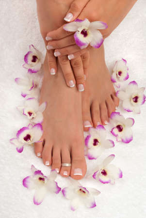 manicure and pedicure: Spa treatment with beautiful exotic orchids