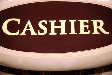 Cashier sign in a casino