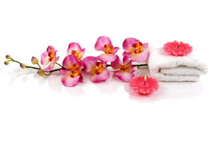 A beautiful orchid, towel and candles Reklamní fotografie - 823197