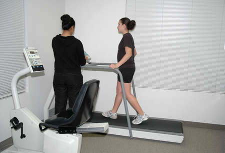 A teenage girl having physical therapy