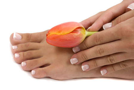 Pedicured foot and manicured hand with an elegant tulip