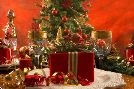 Beautifully decorated Christmas setting Stok Fotoğraf