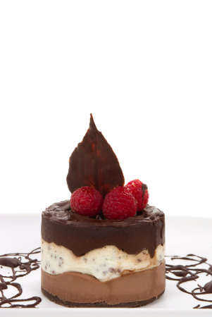 Chocolate cheese cake with rapsberries and copy space