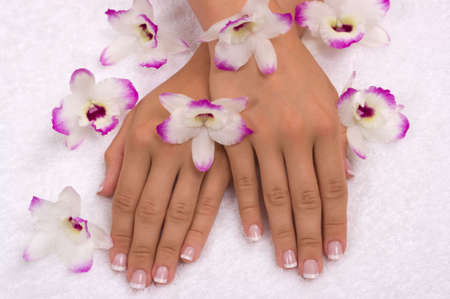 Spa with elegant orchids