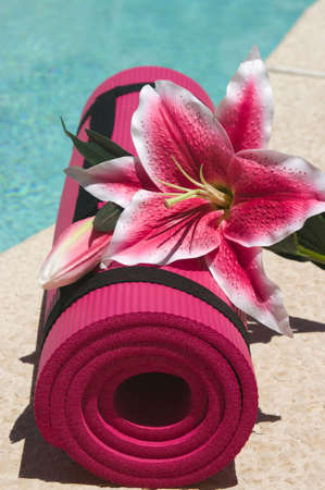 Yoga mat and a beautiful lily near a pool Imagens