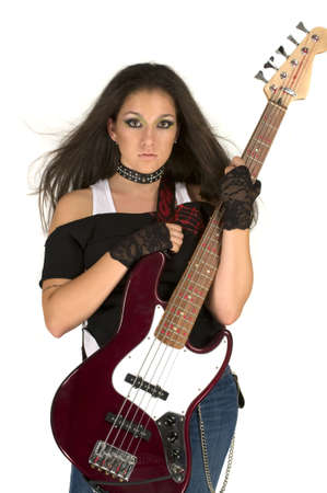 Rock star with beautiful make up playing guitar