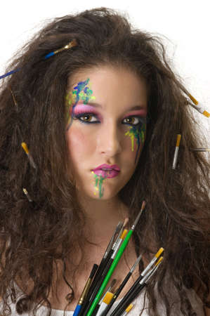 Painter girl with beautiful make up