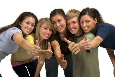 thumbs up group: Diverse felice gruppo di studenti  Archivio Fotografico