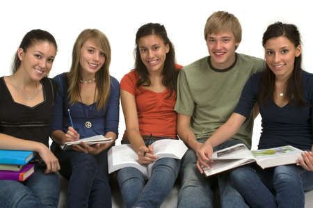 Diverse group of students studying (Caucasian, Hispanic, Middle Eastern) Stock Photo