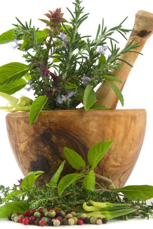 Healing herbs, spices, and edible s (handcarved olive tree mortar and pestle) Stock Photo