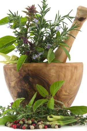 Healing herbs, spices, and edible flowers (handcarved olive tree mortar and pestle) Reklamní fotografie