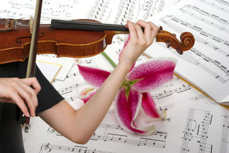 Musical notes, playing violin and lily flower