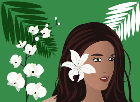 Vector girl, tropical flowers and palm frond 일러스트
