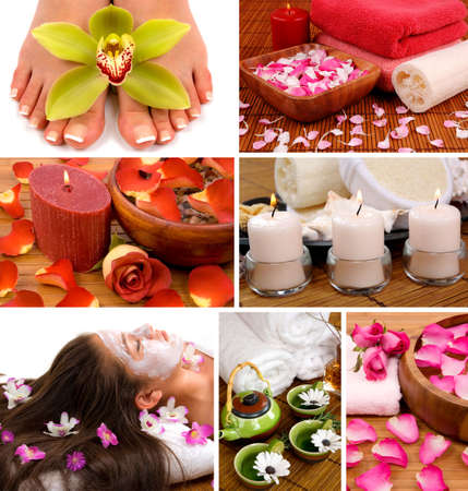 Spa collage with aromatherapy, skincare, pedicure, and herbal  relaxing tea