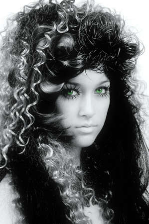 Cosmetic model with interesting hairdo