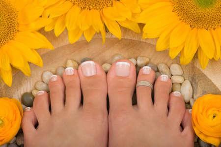 Pedicured feet in a spa