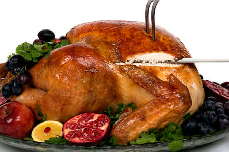 Beautifully decorated golden roasted turkey
