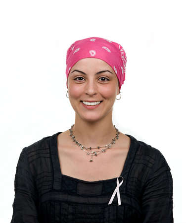 Beautiful breast cancer survivor with bandana ( 2 months after chemo)