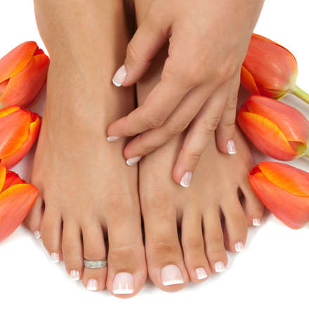 Les tulipes élégants manicured main et pedicured pieds  Banque d'images - 6563615