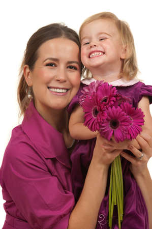 Cute toddler and her mother celebrating mothers day