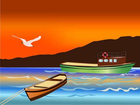 Vissers boten tijdens zons ondergang Stock Illustratie