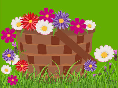 Mand vol bloemen op gras