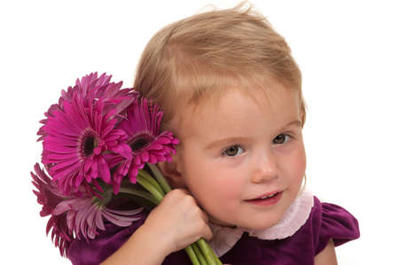 mother'sday: Girl giving flowers for mothers day or birthday