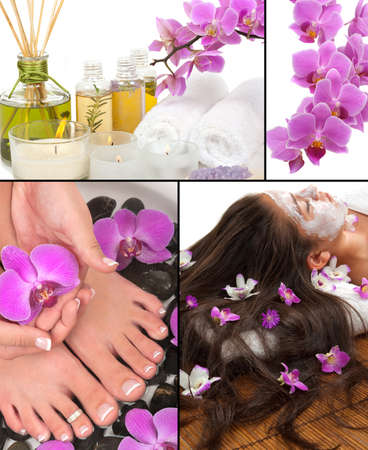 Spa, aromatherapy, pedicure, manicure, massage collage Stock Photo