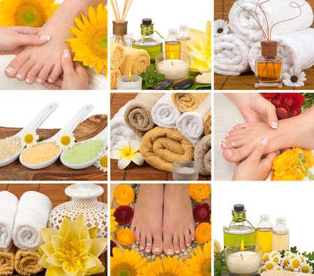 Spa, aromatherapy, massage, pedicure collage photo