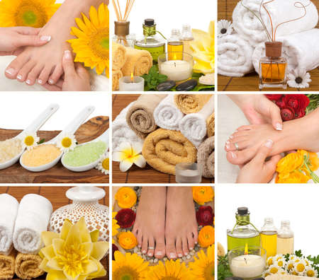 aromatherapy: Spa, aromatherapy, massage, pedicure collage