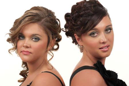 髪とプロム、結婚式やパーティーのためのメイクアップ 写真素材