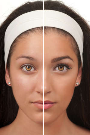 Teen make up before and after photo