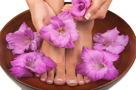 Pedicure and manicure spa with beautiful flowers Reklamní fotografie