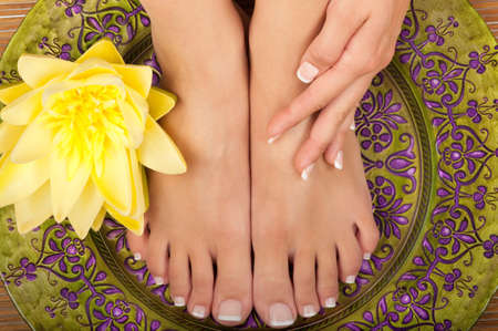 nails manicure: Pedicure and manicure spa with beautiful flowers Stock Photo