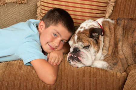 Boy with his pet dog photo