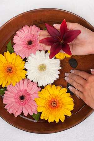 Manicure spa with beautiful flowers