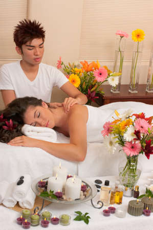 hair treatment: Spa treatment with massage, skincare and aromatherapy  Stock Photo