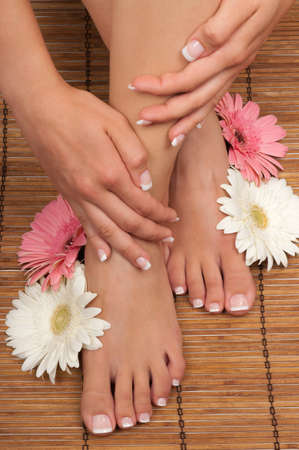 Pedicure and manicure spa with beautiful flowers Stock Photo - 10410687