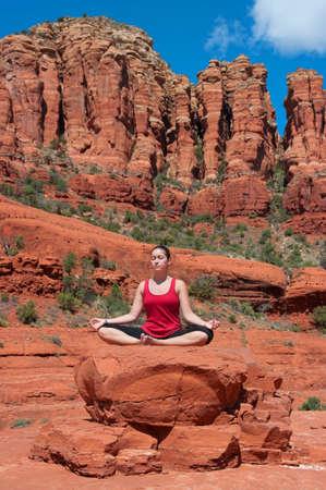 sedona: Meditation in Sedona Arizona Stock Photo