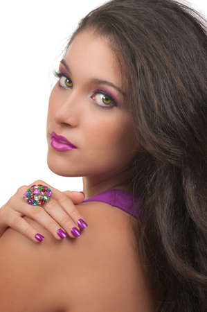 Young woman with beautiful, make up, hair and manicure photo