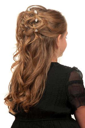 hairdo: Hairdo for little girls for weddings or parties Stock Photo