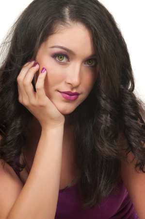Young woman with beautiful make up, hair and manicure photo