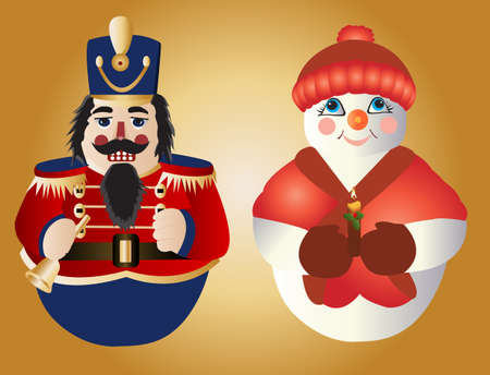 the nutcracker: Soldier and snowman ornaments for Christmas