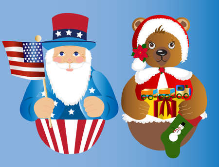 American Santa and bear ornament with toy and stocking photo