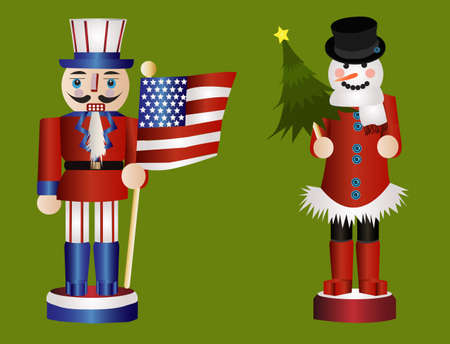 American and snowman nutcrackers photo