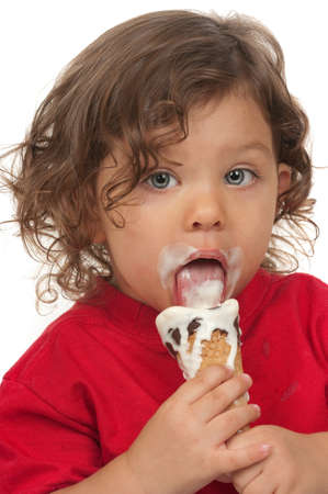 A little child eating ice cream